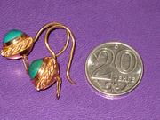 Золотые серьги с натуральной бирюзой,  проба 583,  вес 5.5гр.