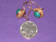 Золотые серьги с бирюзой,  583,  5.5гр,  советское качество.
