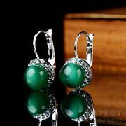 Новые сережки зелёный агат с кристаллами Swarovski.